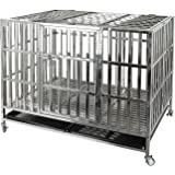 Confote Heavy Duty Stainless Steel & Metal Dog Cage Kennel Crate and Playpen for Training Small/Medium/Large Dog Indoor Outdo
