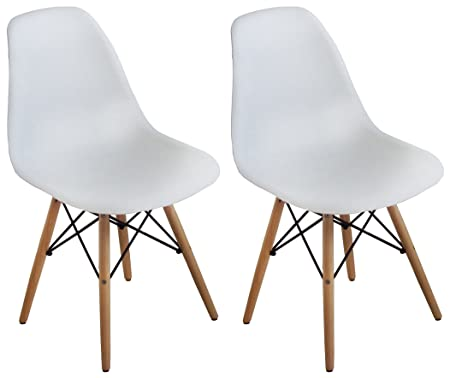 Buschman Set of Two White Mid Century Modern Dining Room Wooden Legs Chairs