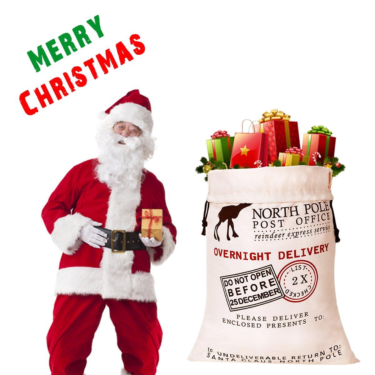 Amazon.com: Personalized Santa Sack ,HBlife Christmas Gift Bag Santa ...
