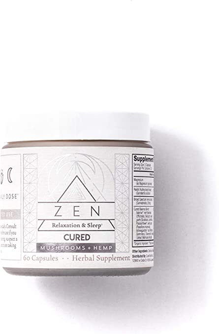 Cured Nutrition Zen Calming Formula Sleep Aid, 60 Capsules, Relaxation & Anxiety Relief, Nighttime Herbal Supplement with Hemp Extract, Mushrooms, Valerian Root, Reishi & Magnesium Glycinate