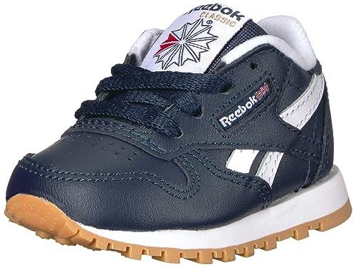 Reebok Boys  Classic Leather Sneaker Collegiate Navy White Gum 1 M US Little fa1ddddd6