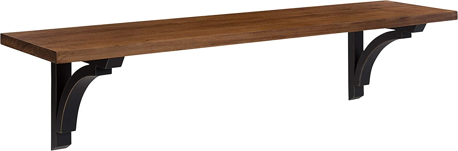 Kate and Laurel Corblynd Traditional Wood Wall Shelf, 36 inches, Brown with Black Corbels