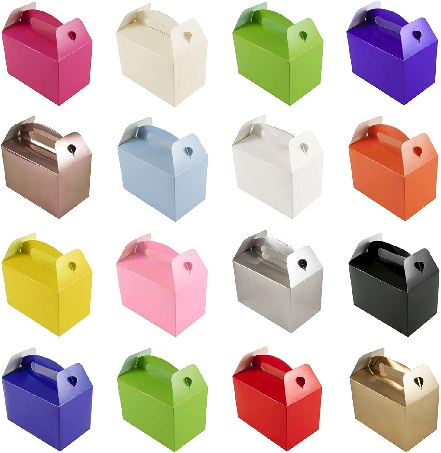 Shatchi 20Pk Childrens Lunch Takeaway Birthday Wedding Cake Meal Food Boxes Party Bags Bulk, Assorted Mix Colours