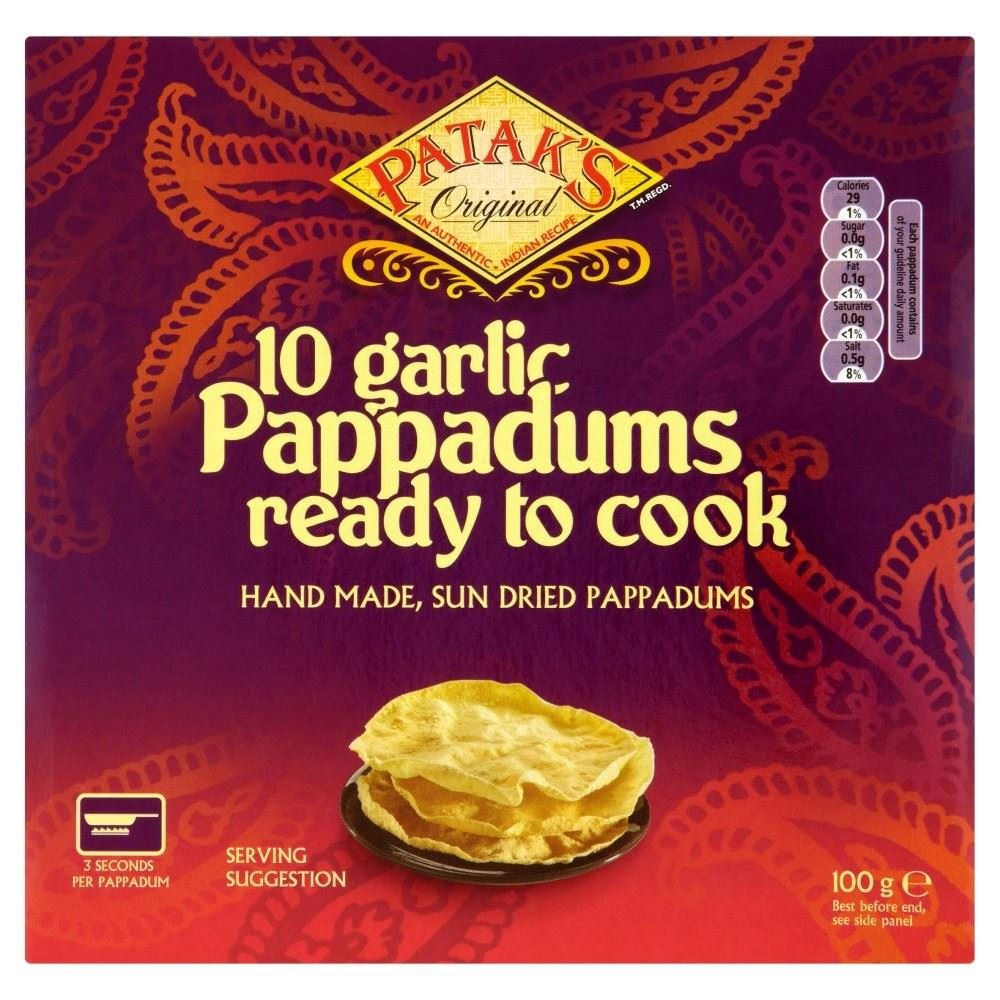 Patak's Read to Cook Garlic Pappadums (10 per pack - 100g) - Pack of 2