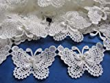 """YYCRAFT Butterfly 3"""" Lace Edge Trim Pearl Wedding"""
