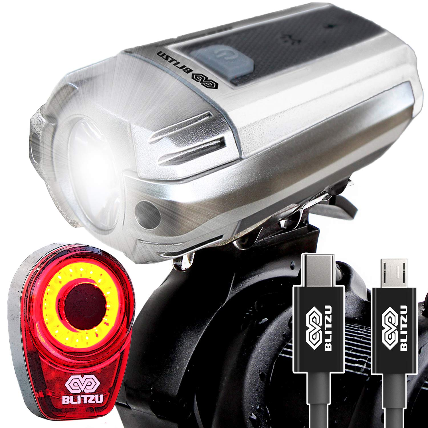 BLITZU Gator 390 USB Rechargeable LED Bike Light Set, Bicycle Headlight Front & Free Rear Back Tail Light. Waterproof, Easy to Install for Kids Men Women Road Cycling Safety Commuter Flashlight White by BLITZU