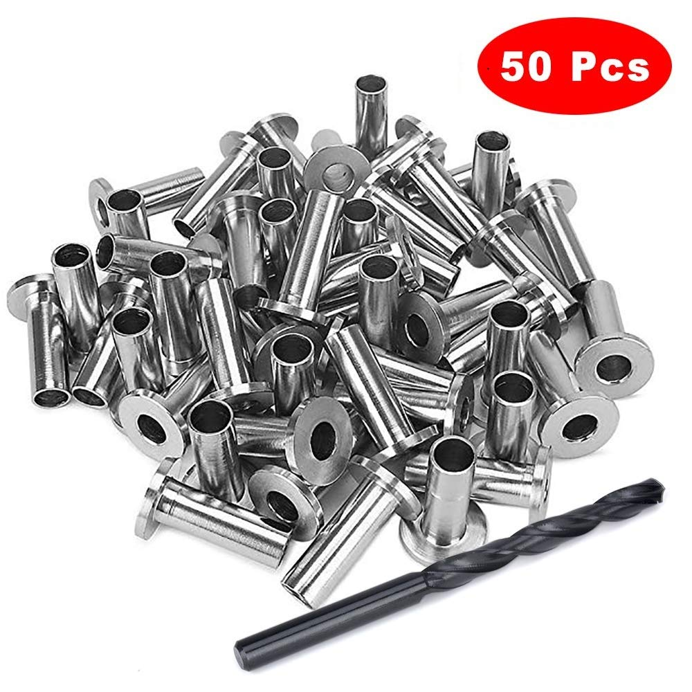 Kelife 50 PCS Stainless Steel Protector Sleeves Grommet for 1/8'' 5/32'' or 3/16'' Cable Railing, T316 Marine Grade by Kelife