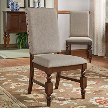 Flatiron Nailhead Upholstered Dining Chairs (Set Of 2) Grey Linen