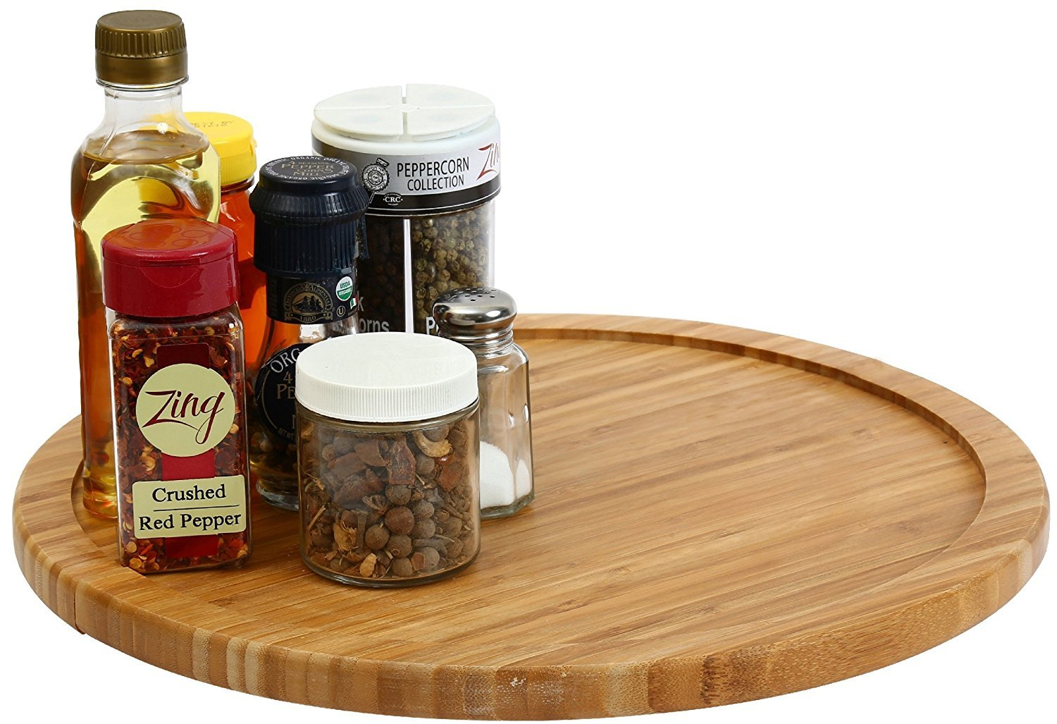 YBM HOME Bamboo Wooden Lazy Susan Turntable 14 Inch Diameter 356 by YBM HOME