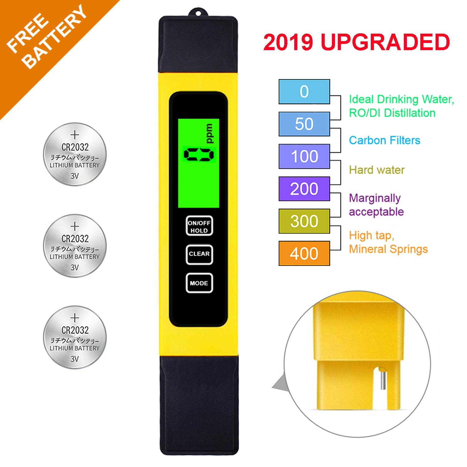 TDS Meter Digital Water Test Meter, TDS Temperature & Conductivity Meter 3 in 1, 0-9999 ppm, Hydroponics EC Meter, Digital Water Quality Testers for Drinking Water, ppm Meter for Hydroponics Aquarium by Hofun
