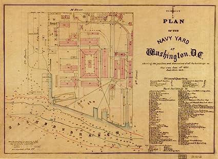 Amazon Com Vintography 1881 Map Of Washington Navy Yard Plan Of The