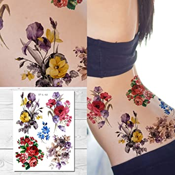 1bd3718e9f9c7 Amazon.com : Supperb Temporary Tattoos - Mix Bouquet of Flowers : Beauty