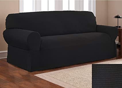 Fancy Collection Sure Fit Stretch Fabric Sofa Slipcover Sofa Cover Solid  New #Stella (Black, 1 pc Sofa)