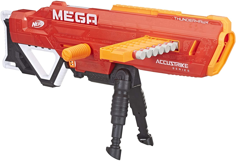 Thunderhawk Nerf AccuStrike Mega Toy Blaster - Longest Nerf Blaster - 10 Official AccuStrike Nerf Mega Darts, 10-Dart Clip, Bipod - For Kids, Teens, ...