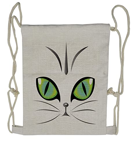 Amazon com | Ambesonne Eye Drawstring Backpack, Siberian Cat