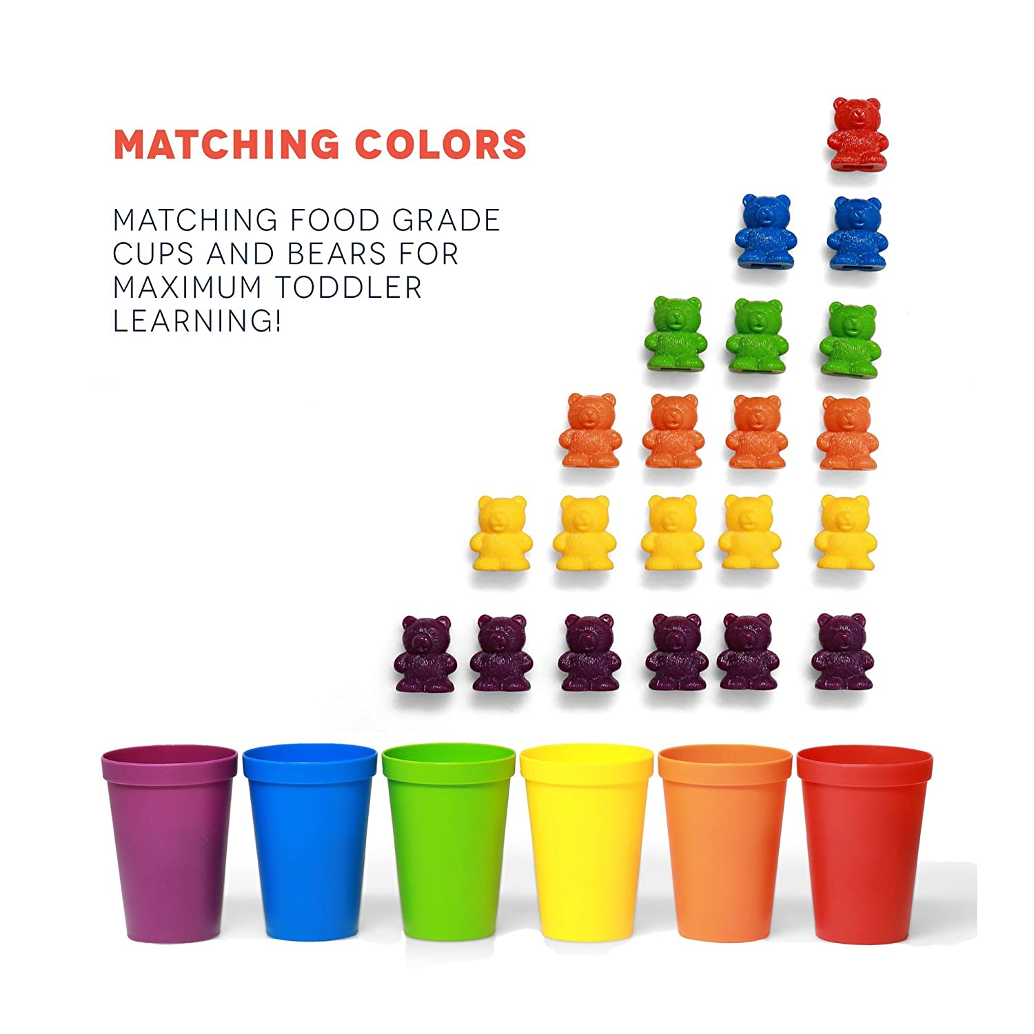 Amazon 72 Rainbow Colored Counting Bears With Cups For Children Montessori Toddler Learning Toys Colorful Educational Tool STEM