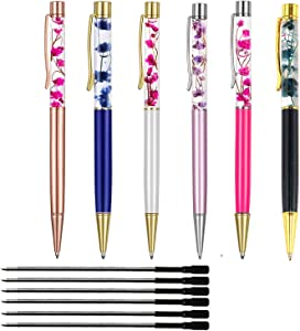Ballpoint Pens,6PCS Metal Ball Pens Office Supplies, Dynamic Liquid Flower Pens for Desk Accessories. (Black Refill)