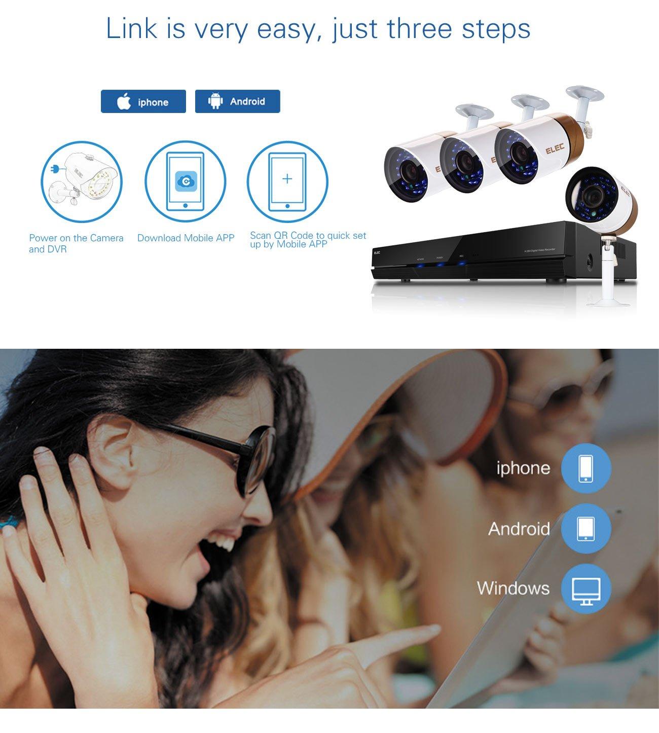 ELEC Cámara de Seguridad CCTV Sistema de Seguridad 8CH 1080N 1080P Lite AHD DVR con 4 Cámara de Vigilancia, IP66 Impermeable(NO HDD): Amazon.es: Bricolaje y ...