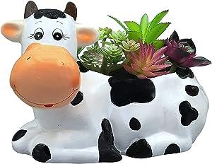 Sixdrop 9-Inch Cow Planter Pot Holder, Small & Medium Size Plants, Decorative Indoor & Outdoor Garden Backyard Flower Ceramic Succulent Pot Planter