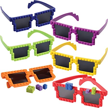 Building Blocks Glasses - Pack of 6 - Block Mania Building Block Glasses with Extra Bricks for Carnival Supplies, Stocking Stuffers and Birthday Party Favors for Kids by Bedwina