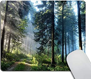 Smooffly Gaming Mouse Pad Custom,Nature Misty Forest Customized Rectangle Non-Slip Rubber Mousepad 9.5 X 7.9 Inch (240mmX200mmX3mm)