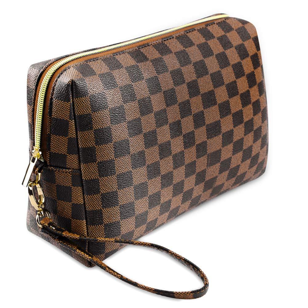 Makeup Bag Checkered Cosmetic Bag,Portable Multifunctional Travel Bag for Cosmetics, Make Up Tools, Toiletries Brown