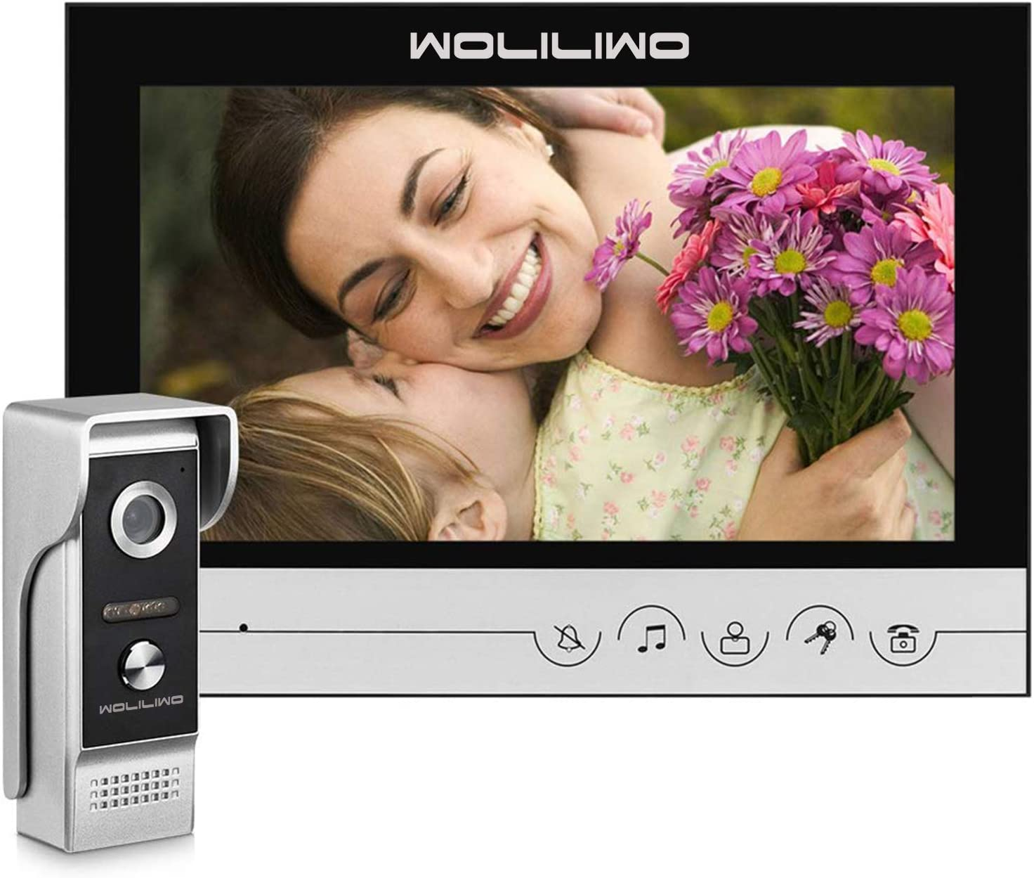 Video Doorbell with 9 Inches Monitor Wired Video Intercom Doorbell Phone System Kit 1-Monitor 1-Camera Video Doorbells WOLILIWO for Home Office Apartment