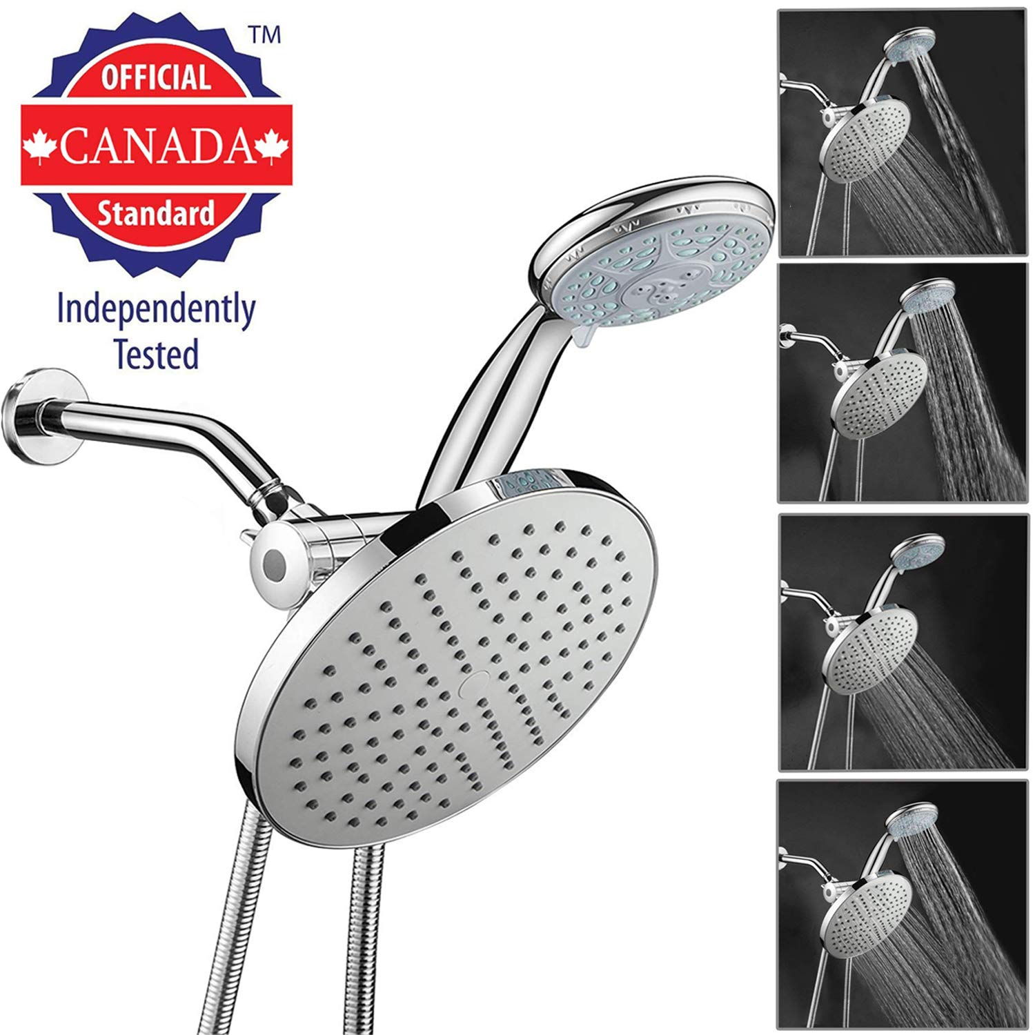 High Quality ABS Material Chrome Finish Surface Showerhead Set Easy Install Showerhead Combo Shower Head Shower Bracket Arespark 5 Setting High Pressure Handheld Showerhead and Rainfall Showerhead Combo with Shower Hose