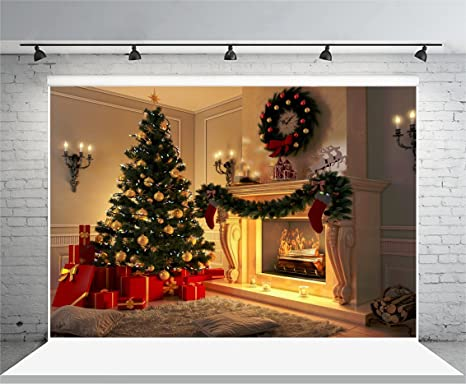 laeacco 10x65ft vinyl photography background new year interior christmas tree burning fireplace firewoods presents