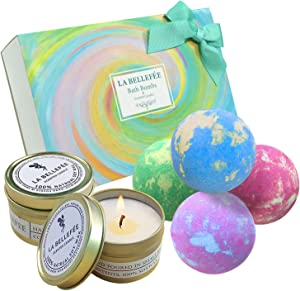 LA BELLEFÉE Bath Bombs Gift Set, Perfect for Bubble Bath Fizzy Spa to Moisturize Dry Skin. Gift Ideas for Women, Lovers, Girlfriend (4 x 4.1 oz Bath Bombs + 2 x Scented Candles)