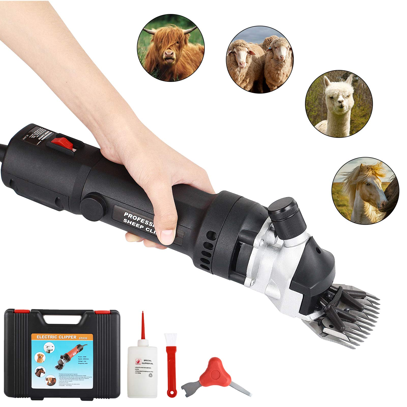 SUNCOO Portable Sheep Shears 350W Animals Electric Clippers for Goats, Alpaca, Horse Support Heavy-Duty Farm Livestock Shearing Grooming Work (Black) by SUNCOO