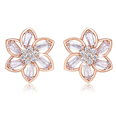 FJYOURIA Ladies Gold Earings Womens Rose Gold/Sliver Color Flower Shaped Sparkly Rhinestone Stud Earrings Best for Gift 37gm23f
