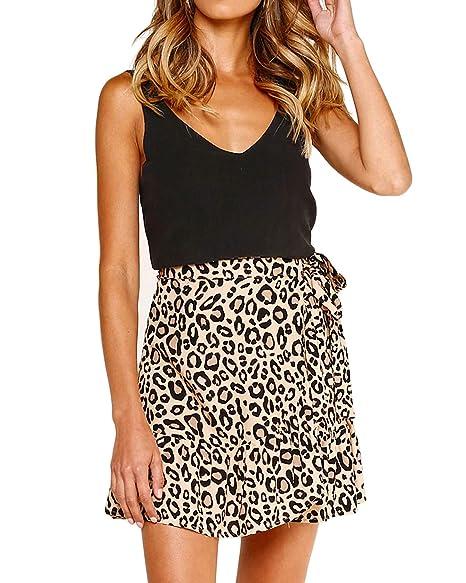 54725fedb Salamola Women's Leopard Asymmetrical Ruffles High Waist Printed Cute Casual  Mini Skirt(Leopard,S