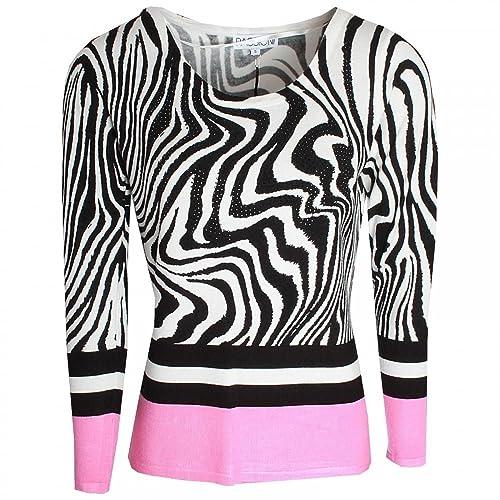 Passioni Zebra Print Fine Knit Long Sleeve Jumper