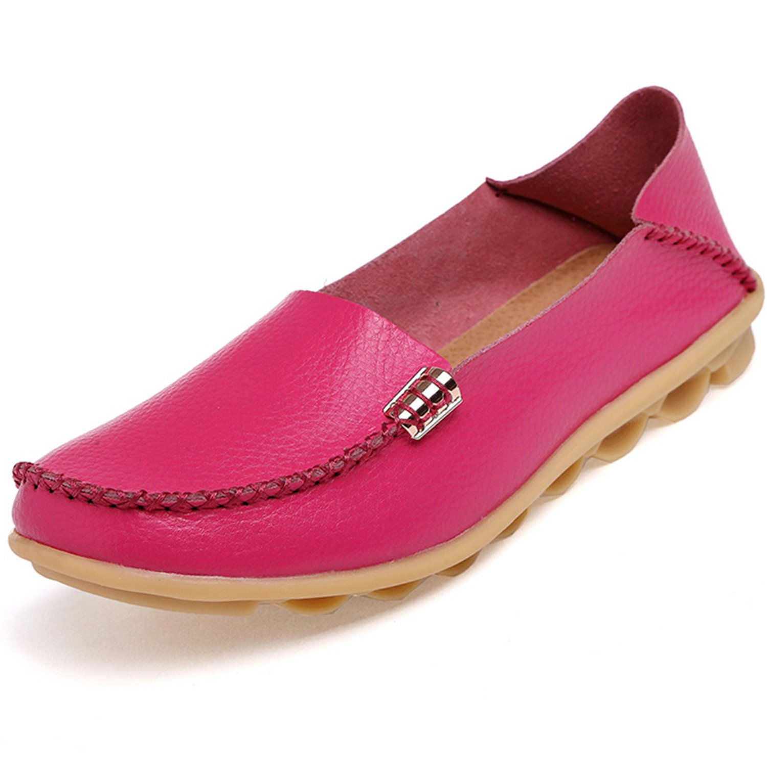 Beststore VAO Summer Candy Colors Genuine Leather Women Casual Shoes New Fashion Breathable Slip-On Peas Massage Flat Shoes Plus Size 35-44 B078FPMYKX 5 B(M) US|Deep Pink