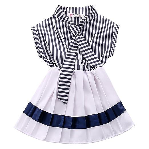 fe3d1713755b Amazon.com  CANIS Little Girls Sleeveless Turn-down Collar Sailor ...