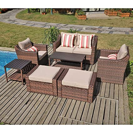 Amazon.com: SUNSITT Juego de muebles de exterior de 7 piezas ...