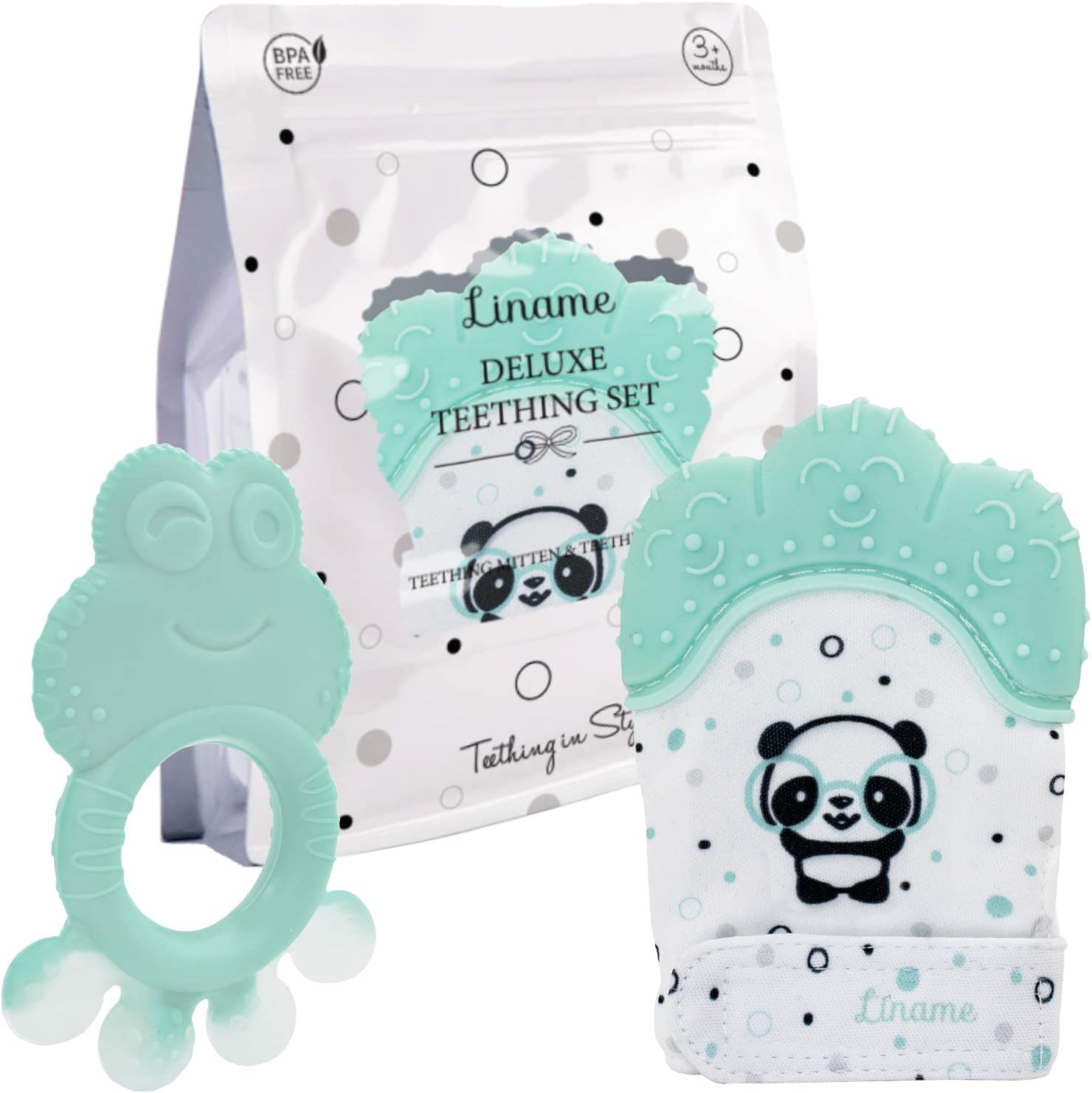 Provides Soothing Relief /& Solves Your Babies Teething Problems Liname Deluxe Teething Set Includes Teething Mitten for Babies /& Teething Toy Safe BPA Free Washable Teething Mitt
