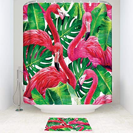 BEISICC Shower Curtain 2 Piece Set Flamingo Flamingos Sitting On Macro  Tropic Bathroom Accessories Contain: