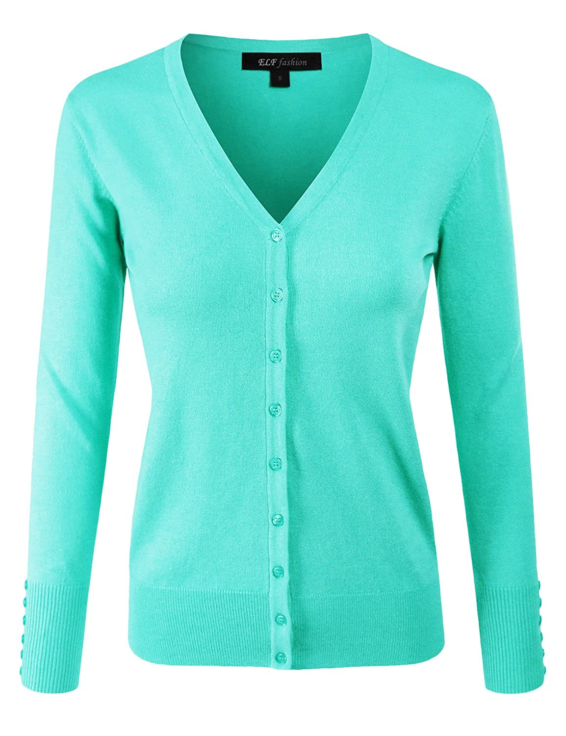 Eftcs2mint2 ELF FASHION Women Top Long Sleeve Button VNeck Cardigan Sweater