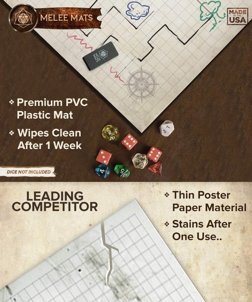 Battle Grid Game Mat - ULTRA DURABLE POLYMER MATERIAL - JUMBO Role Playing DnD Map - Reusable Table Top Non Hex Mats - RPG Dungeons and Dragons Dry Erase Tiles - Large Set for Starters and Masters by Evolve Skins (Image #5)