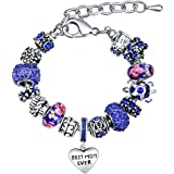 Charm Bracelets for Women MANBARA Diy Jewelry Family Themed Charming Rhinestone Glass Love Heart Shape Engraved Beads Mother Daughter Son Aunt Gifts