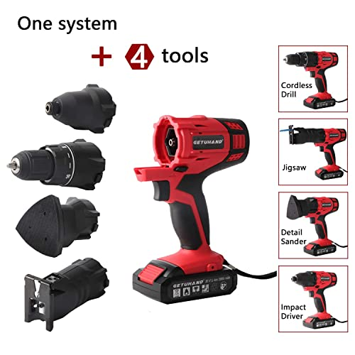 GETUHAND Cordless Tools Combo Kit with Case, 20V Lithium Ion Power Tools Combo Kit, 4-IN-1 Tool-3 8 Cordless Drill Driver,1 4 Impact Driver, Jigsaw and Detail Sander