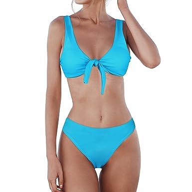 5d1eec59376 KAMLYNN Women's Sexy Bikini Swimsuit Set, 2PCS Tie Knot Front Swimwear Set,  Detachable Bow
