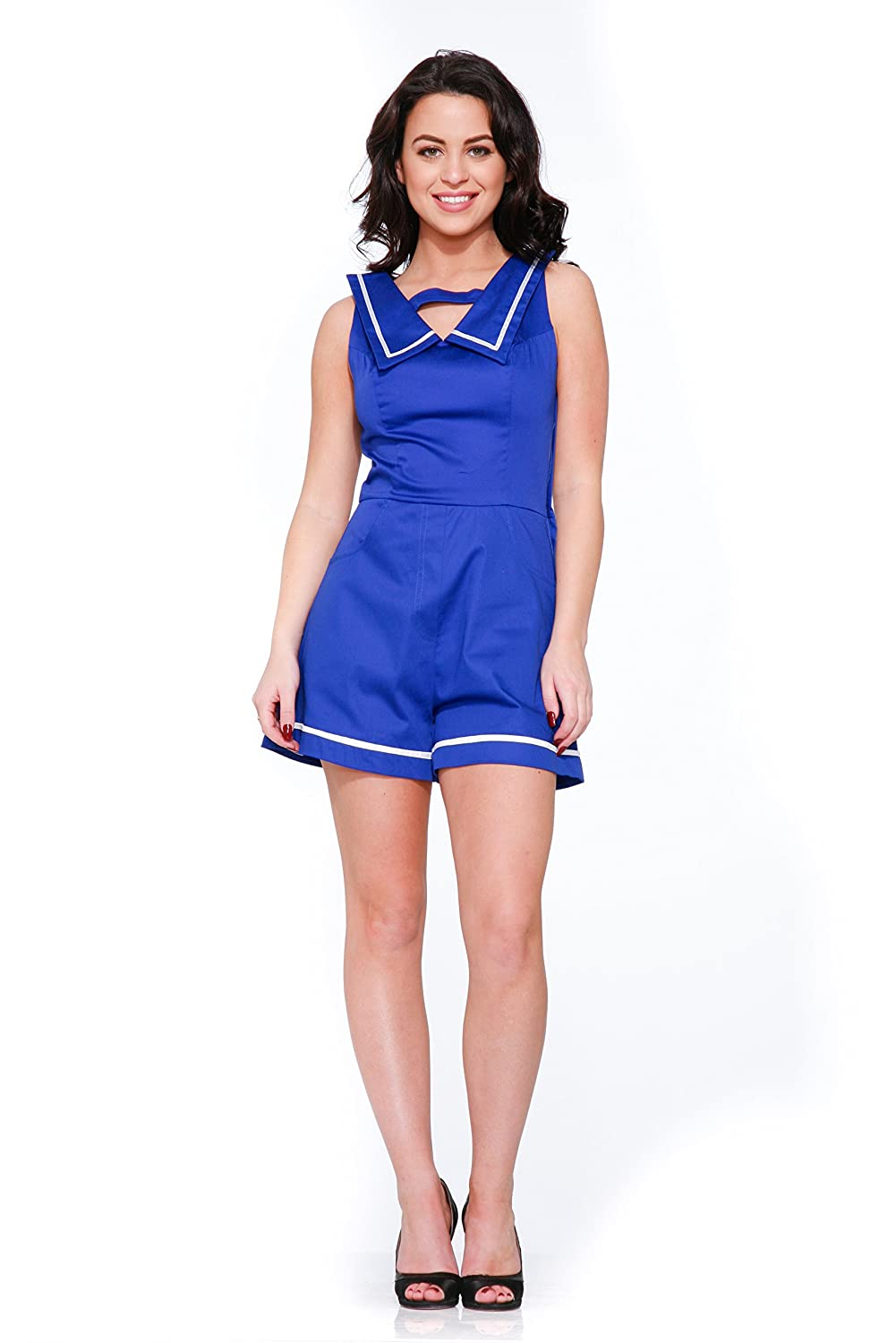 Vintage Rompers   Retro, Pin Up, Rockabilly Playsuits Hearts & Roses Sailor Romper in Blue (Shipped from US and US Sizes) $49.88 AT vintagedancer.com