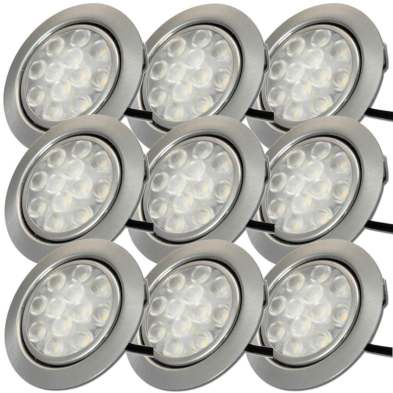9 Stück LED Möbeleinbaufassung Leonie 12 Volt 3 Watt inkl. Kabel mit Mini Stecker und Mini Grüneiler
