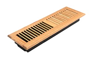Accord AOFROLL414 Floor Register with Oak Louvered, 4-Inch x 14-Inch(Duct Opening Measurements), Light Finish
