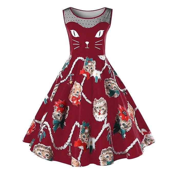 iBaste Mujer Años 50 Retro Vestido Estilo Hepburn Perspectiva Encaje Gatos Imprimir Vestidos Acampanado: Amazon.es: Ropa y accesorios
