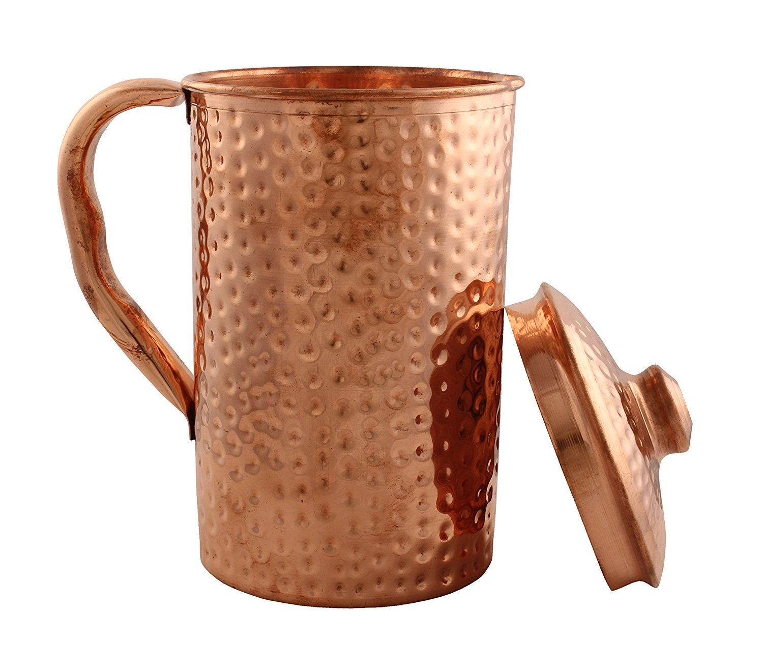 eCraftIndia Hammered Copper Jug Pitcher for regular use of Drinking water, Yoga & Health Benefits, 1700 ML