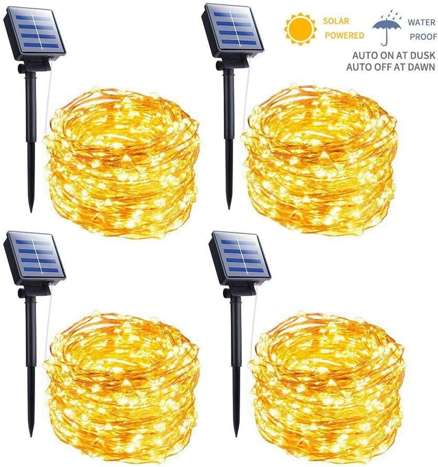 Outdoor Solar String Lights, 4 Pack 33FT 100 LED Solar Powered Fairy Lights with 8 Lighting Modes Waterproof Decoration Copper Wire Lights for Patio Yard Trees Christmas Wedding Party (Warm White)